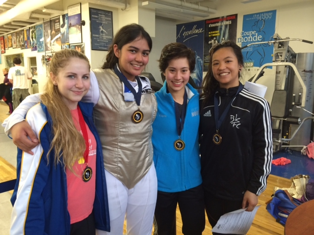 The top 4 in the Women's Senior Foil Event. From Left to Right, Olympia Peters, Shina Patel, Hanna Kopits, and Klarissa Armada.