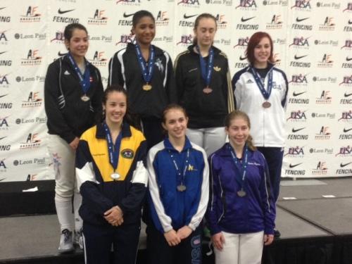 Junior Women's Foil Medal Winner Sylvie Binder of FAW (front row, center)