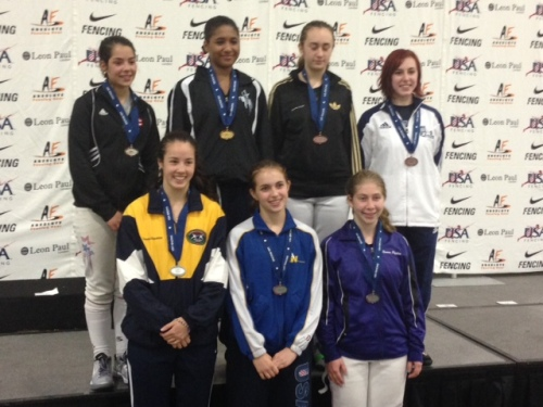 Junior Women's Foil Medal Winner Sylvie Binder of FAW (front row, center)